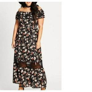 City Chic Off Shoulder Maxi Dress Floral Ruffled
